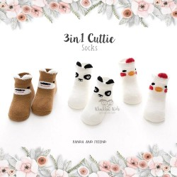 3 in 1 Cuttie Socks - Panda and friends