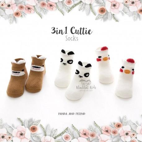 3 in 1 Cuttie Socks - Panda and friends