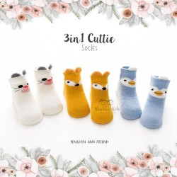 3 in 1 Cuttie Socks - Penguin and friends