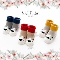 3 in 1 Cuttie Socks - Puppy pet