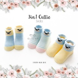3 in 1 Cuttie Socks - Striped bear blue