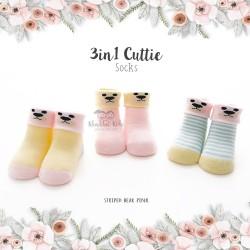 3 in 1 Cuttie Socks - Striped bear pink