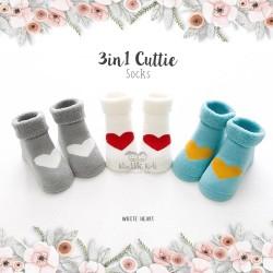 3 in 1 Cuttie Socks - White heart