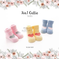 3 in 1 Cuttie Socks - Yellow heart