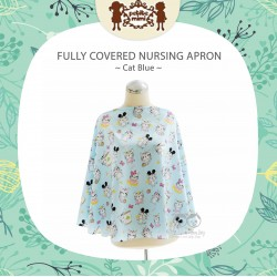 Petite Mimi - Fully Covered Nursing Apron - Cat Blue