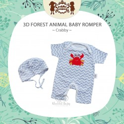 Petite Mimi - 3D Forest Animal Baby Romper - Crabby