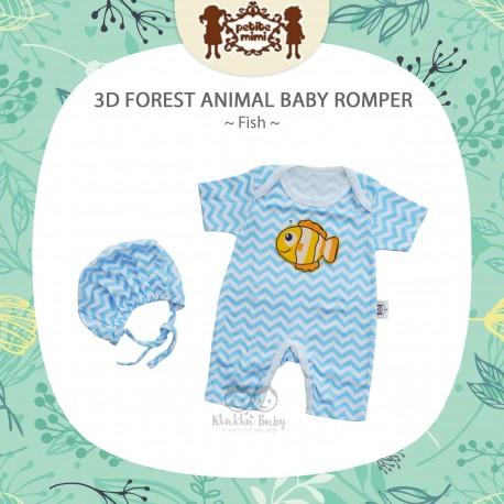 Petite Mimi - 3D Forest Animal Baby Romper - Fish
