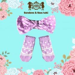 Petite Mimi - Sock and Headband Set - Purple Polka