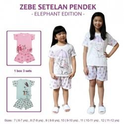 Zebe - Setelan Pendek (3 set/pack) - Elephant Edition