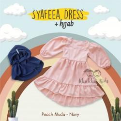 Syafeea Dress & Hijab - ( Peach Muda - Navy )