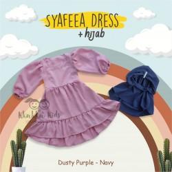 Syafeea Dress & Hijab - ( Dusty Purple - Navy )