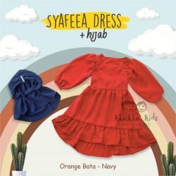 Syafeea Dress & Hijab - ( Orange Bata - Navy )