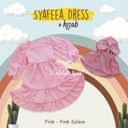 Syafeea Dress & Hijab - ( Pink - Pink Salem )