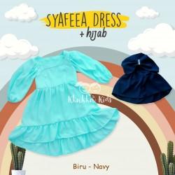 Syafeea Dress & Hijab - ( Biru - Navy )