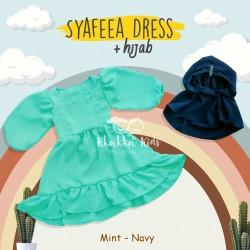 Syafeea Dress & Hijab - ( Mint - Navy )