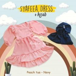 Syafeea Dress & Hijab - ( Peach Tua - Navy )