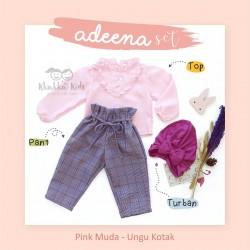 Adeena Set ( Top + Pant  + Turban)  Pink Muda - Ungu Kotak