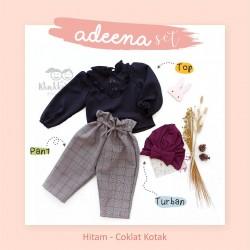 Adeena Set ( Top + Pant  + Turban)  Hitam - Coklat Kotak