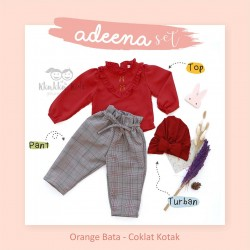 Adeena Set ( Top + Pant  + Turban)  Orange Bata - Coklat Kotak