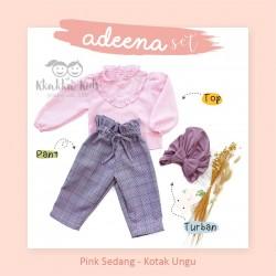 Adeena Set ( Top + Pant + Turban) Pink Sedang - Kotak Ungu