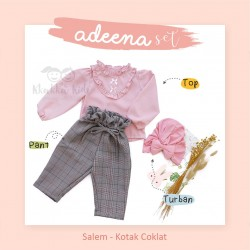 Adeena Set ( Top + Pant + Turban) Salem - Kotak Coklat