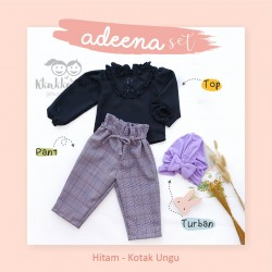 Adeena Set ( Top + Pant + Turban) Hitam - Kotak Ungu
