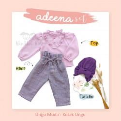 Adeena Set ( Top + Pant + Turban) Ungu Muda - Kotak Ungu