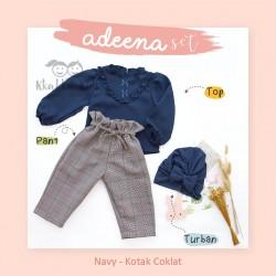 Adeena Set ( Top + Pant + Turban) Navy - Kotak Coklat