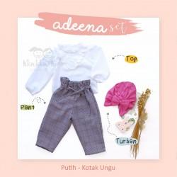 Adeena Set ( Top + Pant + Turban) Putih - Kotak Ungu