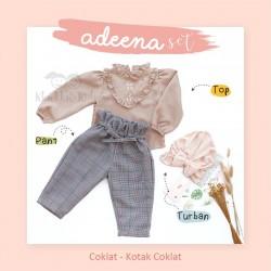 Adeena Set ( Top + Pant + Turban) Coklat - Kotak Coklat