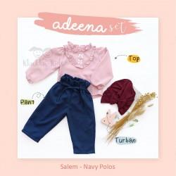 Adeena Set ( Top + Pant + Turban) Salem - Navy Polos