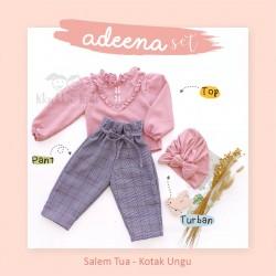 Adeena Set ( Top + Pant + Turban) Salem Tua - Kotak Ungu