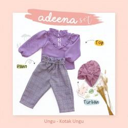 Adeena Set ( Top + Pant + Turban) Ungu - Kotak Ungu