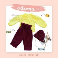 Adeena Set ( Top + Pant + Turban) Kuning - Merah Hati
