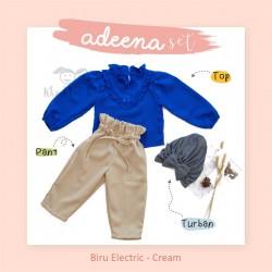 Adeena Set ( Top + Pant + Turban) Biru Electric - Cream