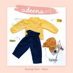 Adeena Set ( Top + Pant + Turban) Kuning Telor - Navy