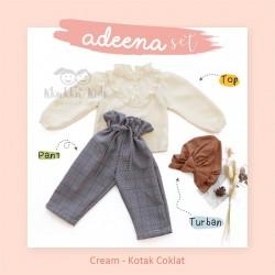 Adeena Set ( Top + Pant + Turban) Cream - Kotak Coklat