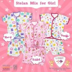 Libby - ECER 1Set Setelan Baju Pendek SML Kecil (Kancing Depan) - MIX GIRL (SRG) [ECER 1PCS]