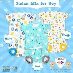 Libby - ECER 1Set Setelan Baju Pendek NewBorn (Kancing Depan) - MIX BOY (SBG) [ECER 1PCS]