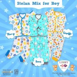 Libby - ECER 1Set Setelan Baju Panjang SML Kecil (Kancing Depan) - MIX BOY (SBG) ECER 1PCS]
