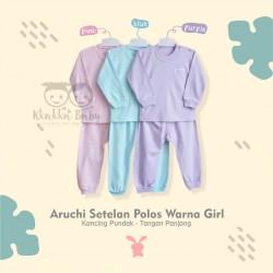 Aruchi - ECER 1 PCS - Setelan Polos Warna Girls - Kancing Pundak - Tangan Panjang [1 Set]