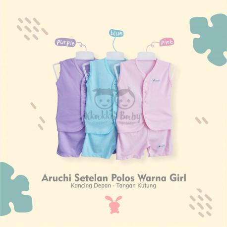 Aruchi - ECER 1 PCS - Setelan Polos Warna Girls - Tanpa Lengan / Tangan Kutung [1 Set]