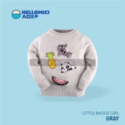 Helomici - Knitwear Little Badge Girl - Gray