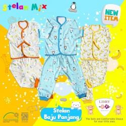 Libby - ECER 1Set Setelan Baju Panjang SML Kecil (Kancing Depan) - Mix Banana [ECER 1SET]