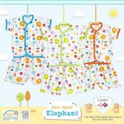 Libby - ECER 1Set Setelan Baju Pendek SML Kecil (Kancing Depan) - Elephant [ECER 1SET]