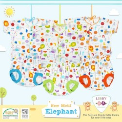 Libby - ECER 1Set Setelan Baju Pendek Newborn (Kancing Depan) - Elephant [ECER 1SET]