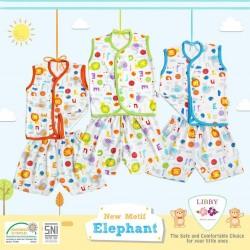 Libby - ECER 1SET Setelan Baju Kutung SML Kecil (Kancing Depan) - Elephant [ECER 1SET]