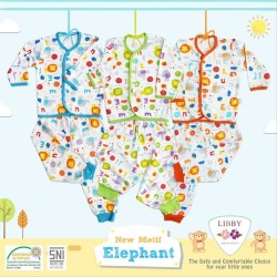 Libby - ECER 1Set Setelan Baju Panjang SML Kecil (Kancing Depan) - Elephant [ECER 1SET]