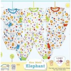 Libby - ECER 1Set Setelan Oblong Panjang SML Kecil - Elephant [ECER 1SET]