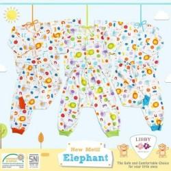 Libby - ECER 1SET Setelan Baju Panjang Newborn (Kancing Depan) - Elephant [ECER 1SET]